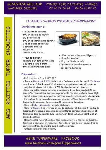 Tupperware , Ultra Pro , Lasagnes poireaux champignons