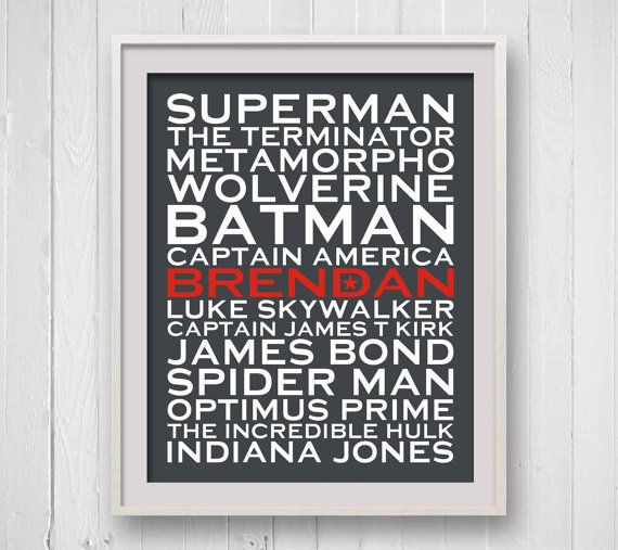 Superhero Print Personalized Famous Comic characters by SoakStudio, $30.00