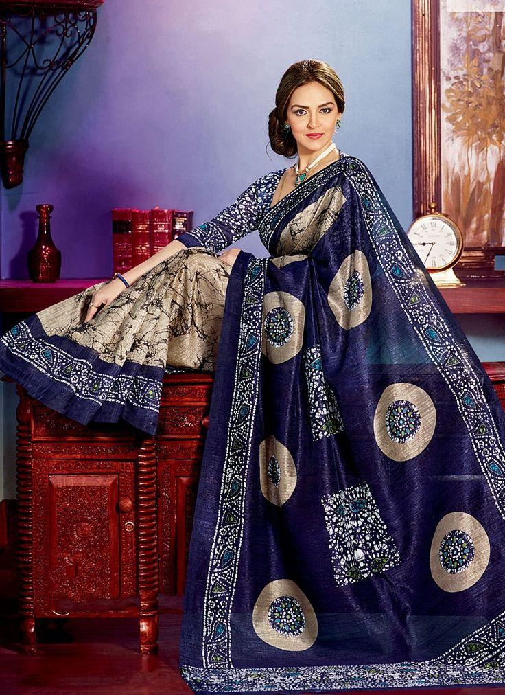 Esha Deol Blue & Peach Bhagalpuri Silk Saree
