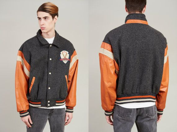 1980s Louisville Slugger Grey Recycled Wool and Leather Varsity Jacket  L by SoftServeVintage