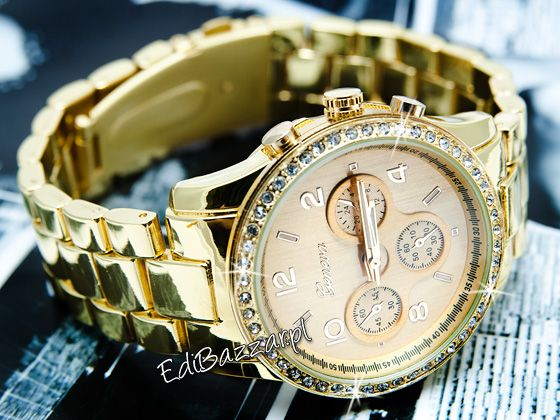 Damski złoty zegarek GENEVA cyrkonie swarovski HIT blogerek EdiBazzar
