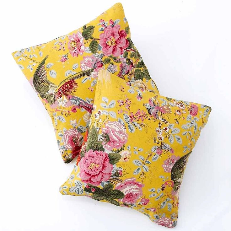 Yellow Floral Cushion. With cascading flowers and multi-coloured birds flying through them these delightfully cheery cushions would be a perfect addition to your home.