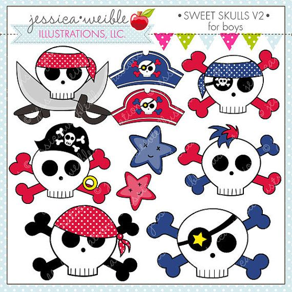 Sweet Skulls V2 For Boys Cute Digital Clipart For Commercial Etsy Face Painting For Boys Clip Art Pirate Activities