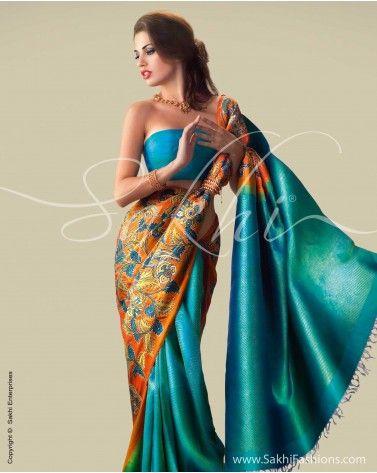 kalamkari with kanchi silk
