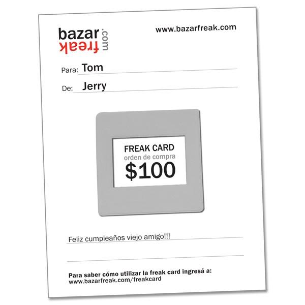 tarjeta de regalo freak card