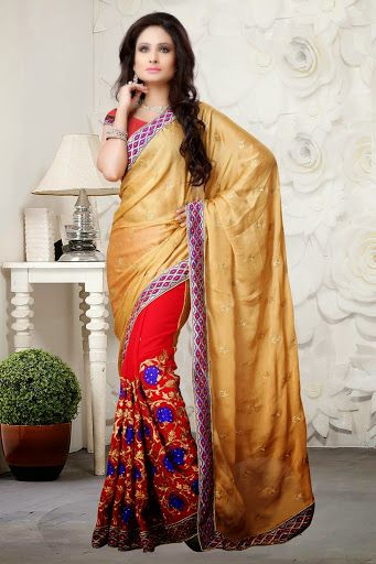 #Red #Golden Saree with Blouse