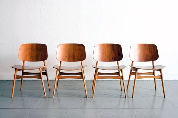 Danish teak dining chairs by Borge Mogensen