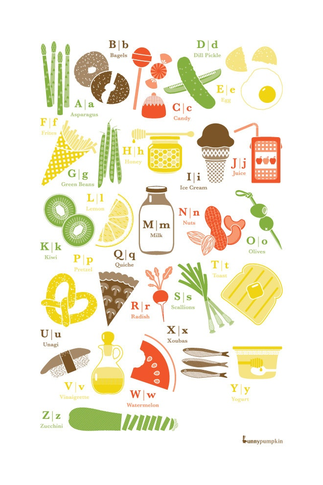 "Cute kitchen print! Food Alphabet - 16""x24"" Print. $46.00, via Etsy."