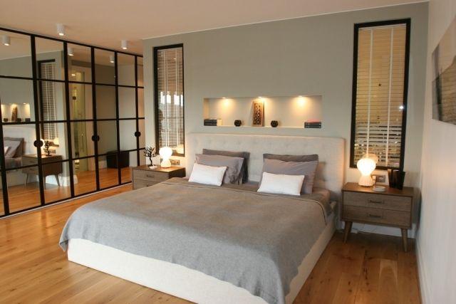 zen-stil schlafzimmer entspannt doppelbett kleiderschrank spiegel