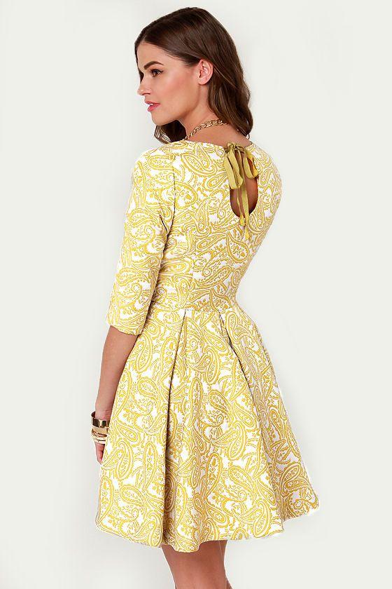 Gorgeous Jacquard Dress - Sixties Dress - Chartreuse Dress -