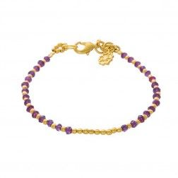 Azuni Athena Gold Plated Single Strand Amethyst Bracelet