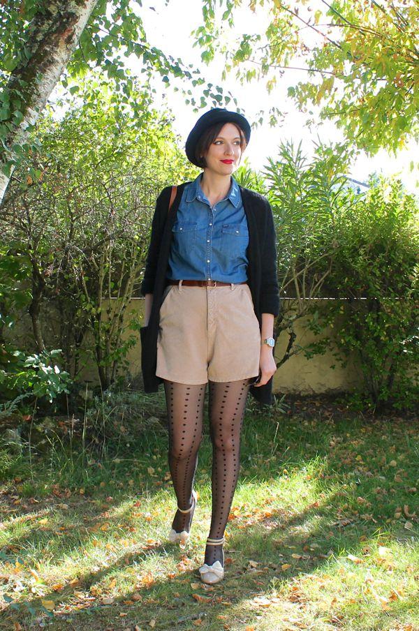 High waist shorts + polkadots tights