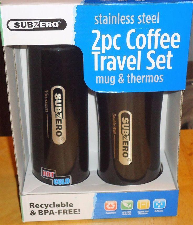 Subzero Stainless Steel 2 Pc Coffee Mug & Vacuum Thermos Travel Set Black New #SubZero