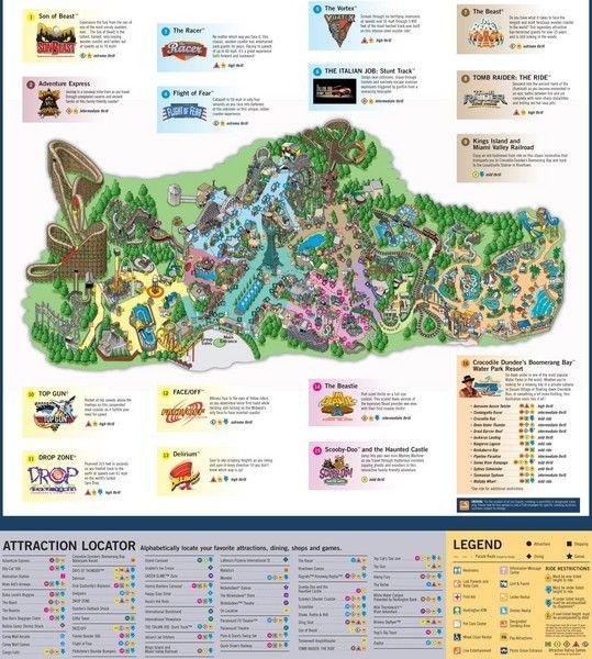 PIC KINGS ISLAND OHIO   Paramounts Kings Island Map - 6300 Kings Island Dr Mason OH 45040 ...