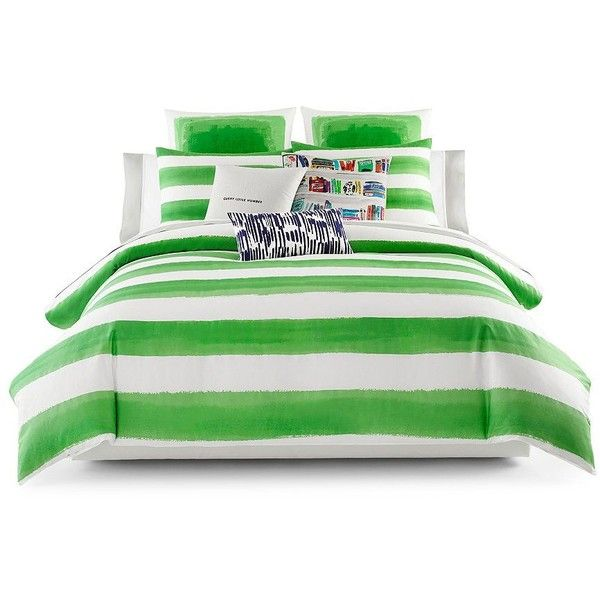Kate Spade New York Rugby-Stripe Comforter Set (295 CAD) ❤ liked on Polyvore featuring home, bed & bath, bedding, comforters, green, striped twin comforter, king comforter set, twin comforter sets, king size comforter and green king size comforter
