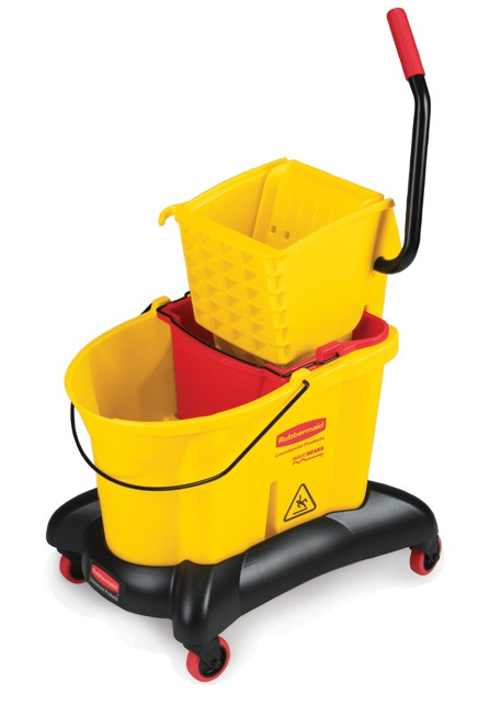 WaveBrake Cart with side press wringer: Down press Bucket and wringer with extra bucket for dirty water on mobile cart.