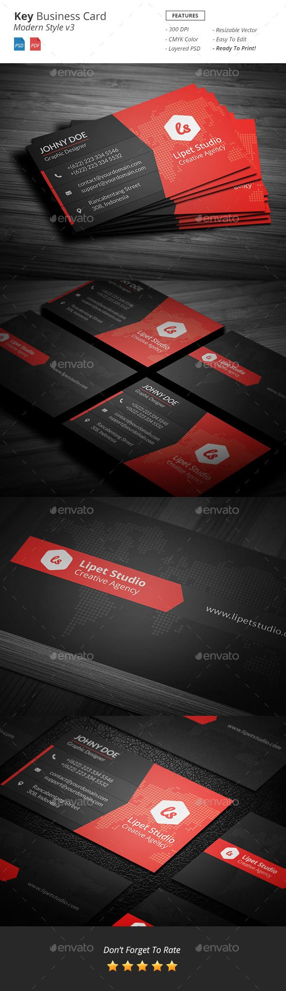 Key - Modern Business Card Template v3