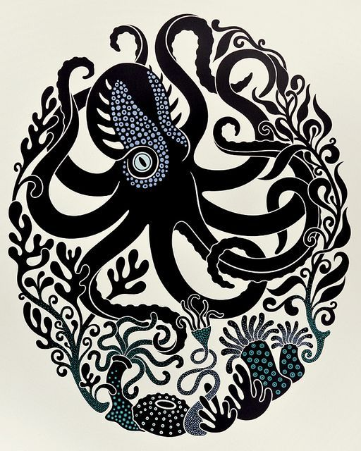 """Octopus & Anemones"" 4-color screenprint by Suzanne Norris of Sakura Snow."