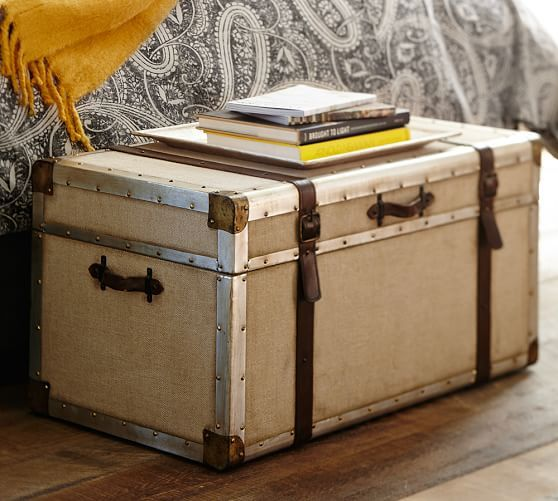 "Zimmer Trunk - for the end of the bed- 33"" w x 19"" d x 17.5"" h - Mahogany frame with linen fabric 