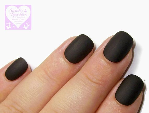 24 Extra Small Fake Nails   Matte Black   Short Ovals   SMALL SIZES ONLY   Acrylic Press On Nails   False Nails   Glue On Nails