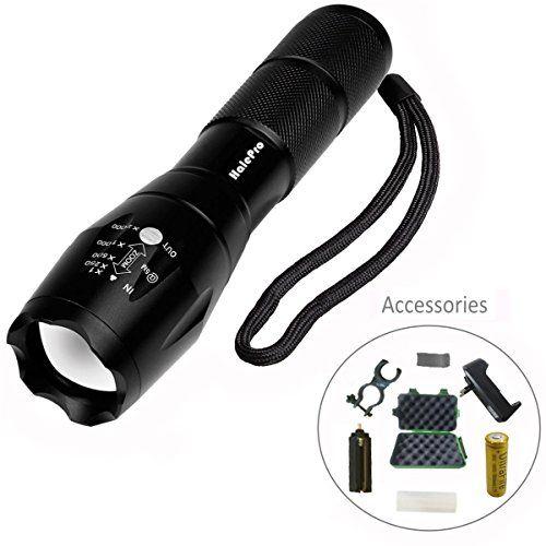 Halepro Torche Lampe de Poche LED, Rechargeable Torche LED-Lampe de Vélo, Lampe de Torche Militaire Poche LED Ultra Puissante Zoomable,…