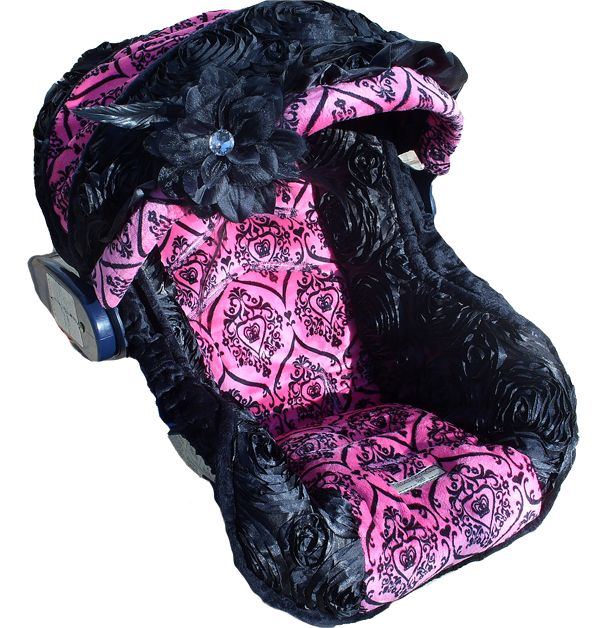 I think this is my fave ive ever seen!   Black and Pink Infant Car Seat Cover for Girls - Infant Car Seat Cover
