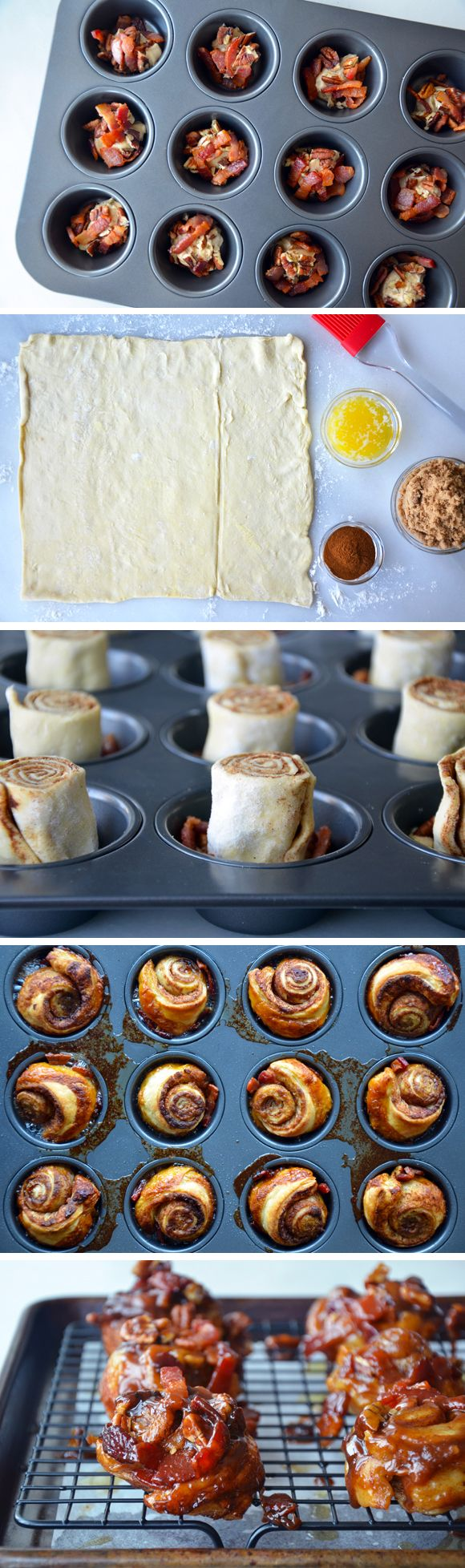 Easy Sticky Buns with Bacon.