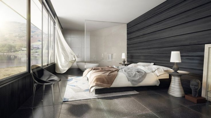 Bedroom:Black Interior Design Of Modern Bedroom With Simple Beds Also White Cushions Also Bedding And Wooden Splits Also Table Lamps Also Curtains Black Lounge Chair Black Marble Floor Biside Small Batroom Some Ideas of Modern Bedroom Design to Inspire You