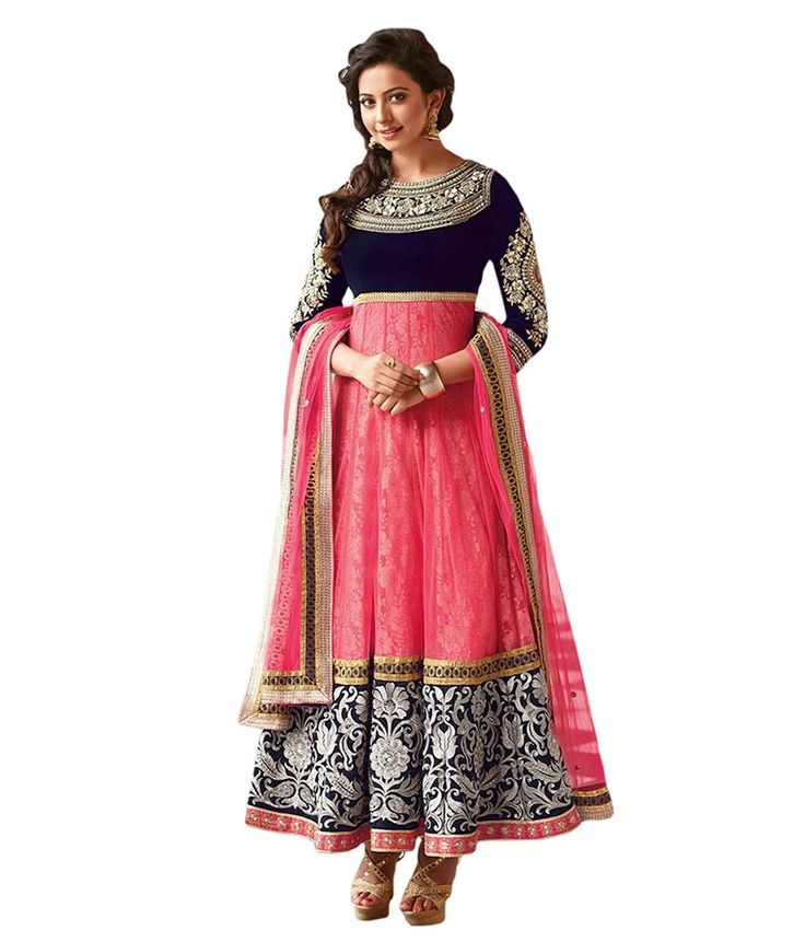 Pink designer anarkali Buy on below link : http://uttamvastra.com/product-category/retail/ OR What's app contact on : 7069883833