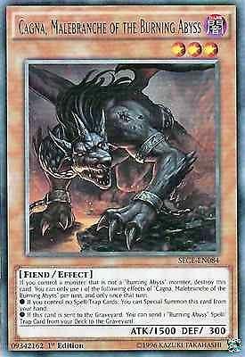Original Konami YuGiOh Trading Card aus Secrets of Eternity.  SECE-EN084  Cagna, Malebranche of the Burning Abyss (Cagna, Grimmetatze des Brennenden Abgrunds)  Seltenheit: Rare - 1st Edition  GBA-Code: 09342162 | Jetzt günstig bei eBay kaufen!