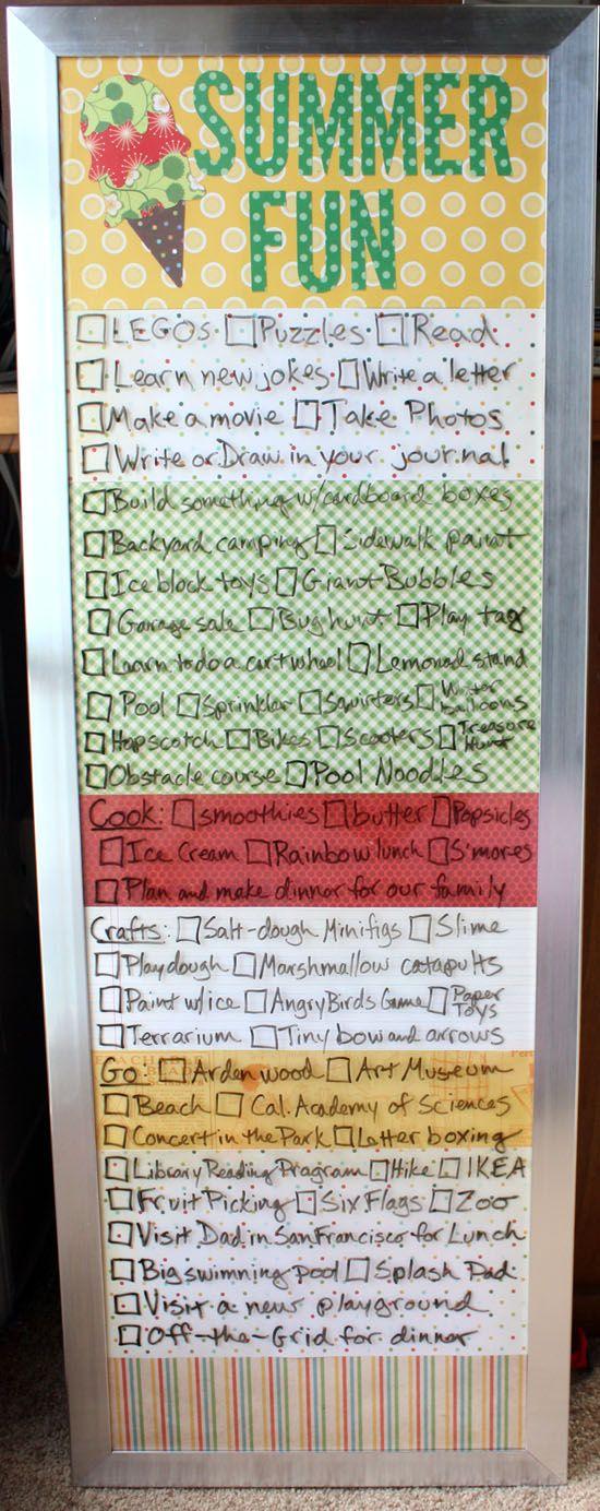 Good idea - make a list of 'summer fun' activities for when the kids get bored