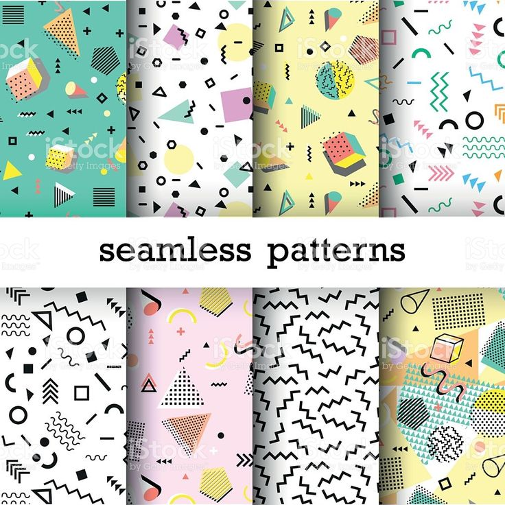 Retro vintage 80s or 90s fashion style. Abstract seamless patterns royalty-free stock vector art