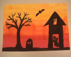 Quick Halloween project I'll have 4th grade do. No brush washing necessary if you start with yellow and work from there. One day to paint the sky, one more day to paint the scene.