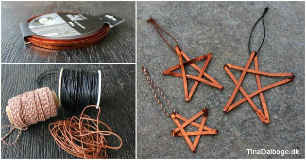 DIY på hjemmelavet julepynt med kobberstjerner foldet i blødt, fladt alutråd. Se idéen på Tina Dalbøges blog - og find materialerne i hendes Kreahobshop.dk