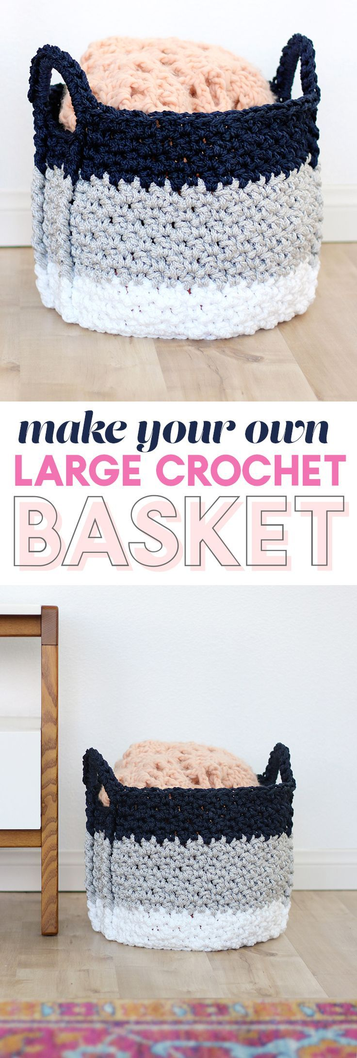 free crochet basket pattern - large crochet basket with handles