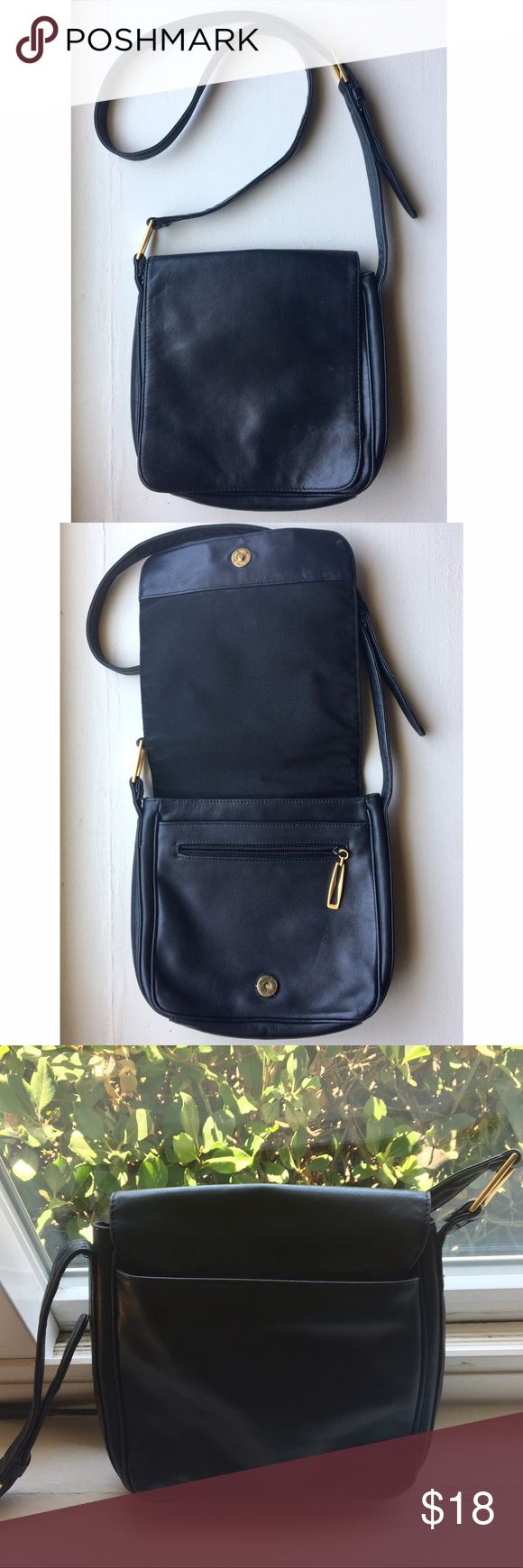 """Preview Collection leather crossbody Great used condition leather crossbody with so many pockets  I mainly use backpacks and smaller bags these days, this has a lot of life left!   Nordstrom brand Approx dimensions 10"""" x 9.5"""" Dark navy blue w/ gold accents Preview Collection Bags Crossbody Bags"""