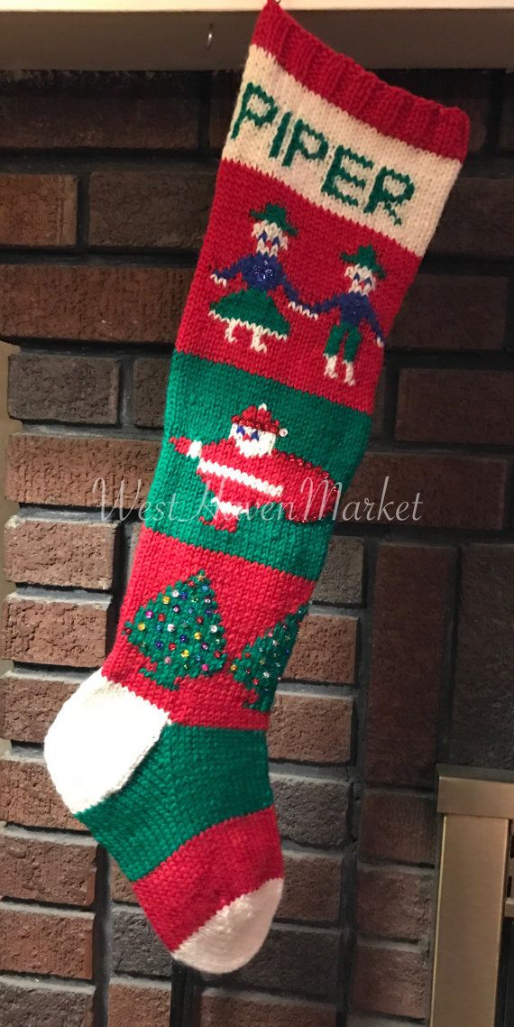Vintage Personalized Hand Knit 1945 Christmas Stocking 100% PURE ...