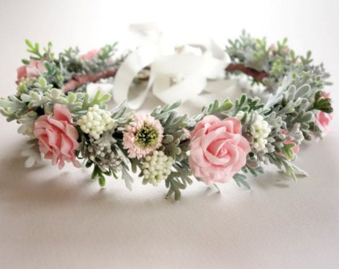 PEACH FLOWER CROWN // Bridal Headdress // Photo Shoot Crown (FULL) Sweet and feminine…this lovely flower crown is made with peach colored paper flowers, artificial Queen Anne's Lace & faux Dusty Miller foliage in peach & sage green. It is sure to make any bride feel special! PLEASE NOTE: The accent flowers change with availability. This crown is currently available with the following accent flowers: *White (photo #3 ) Comes with white ribbon *Ivory (photo#4 ) Co...