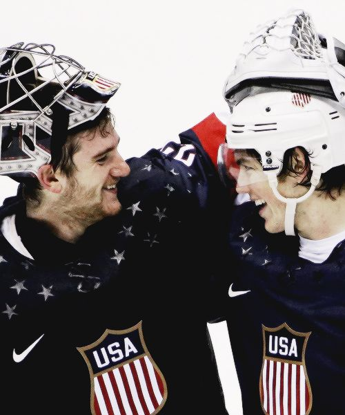 Jonathan Quick and TJ Oshie, Sochi 2014