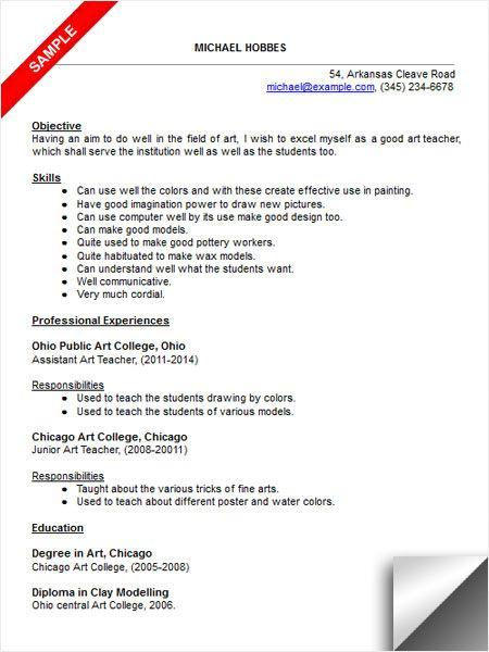 art teacher resume sample page 1 are your teacher
