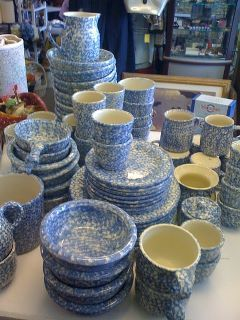 I would take all this in blue green sponge (Henn pottery) :) I do have the milk pitcher already lol. My Mom has rubbed off on me!