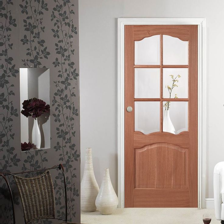 Riviera Mahogany Door Glazed With Clear Bevelled Safety Glass