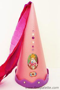 Princess cone hat tutorial  Construction paper  Scissors  Glue  String  Pencil  Ruler  Scotch tape  Stapler  Crepe paper or any sheer paper/fabric  Things to decorate your hat with: ribbons, fabric,   boas, sequins, stickers, rhinestones, glitter glue,   paper cut-outs, craft foam shapes, etc.