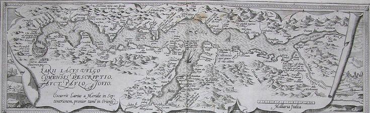 LAGO DI COMO. Lago di Como. Composizione di tavole all'acquaforte rilevata dall'Atlante del Mercatore del '500.