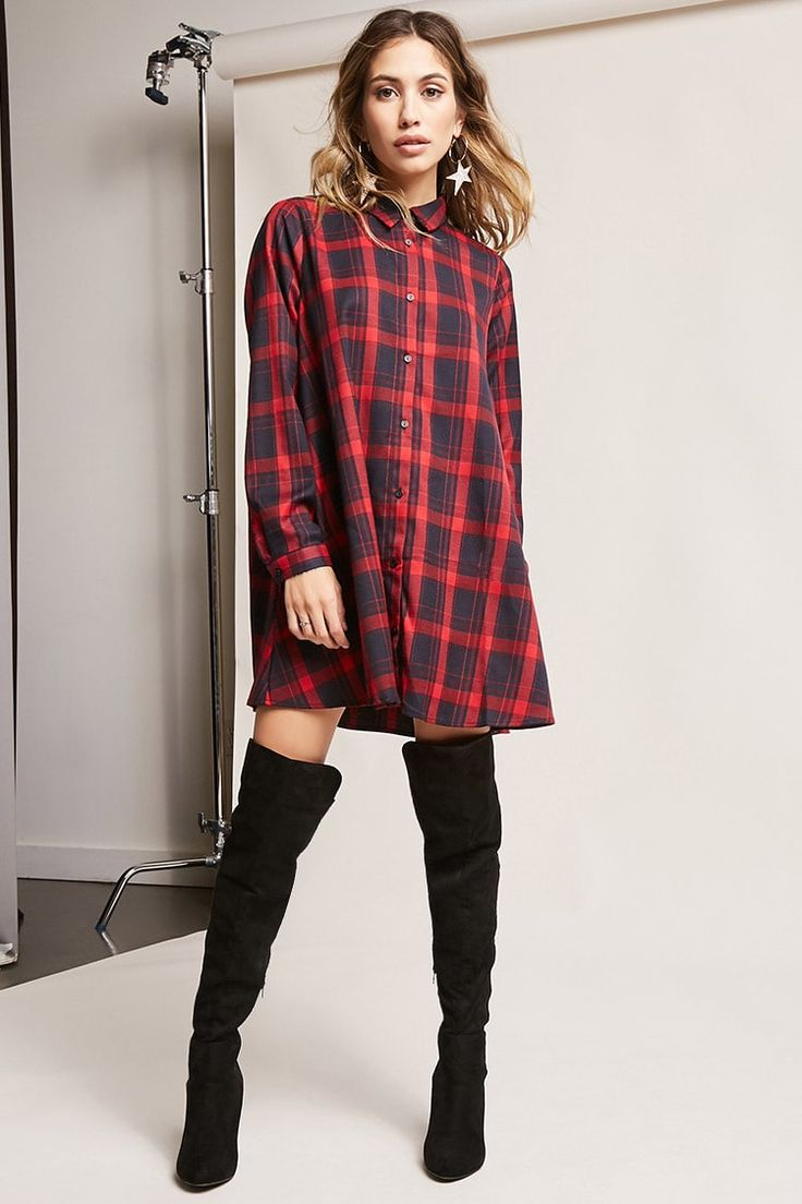 Product Name:Oversized Plaid Shirt Dress, Category:CLEARANCE_ZERO, Price:38
