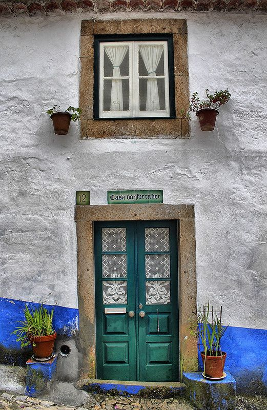 Óbidos traditional house within the castle walls in Portugal
