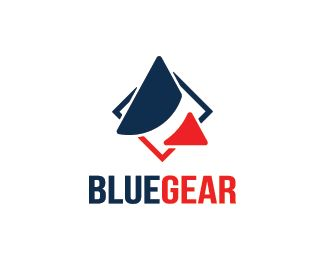 Blue Gear Logo design - Simple shape of a triangle logo design.  Price $250.00