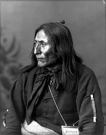 Crowfoot was a warrior who fought in as many as 19 battles and sustained many injuries. While many believe Chief Crowfoot had no part in the North-West Rebellion, he did in fact participate to an extent due to his son's connection to the conflict.[3] Crowfoot died of tuberculosis at Blackfoot Crossing on April 25, 1890. Eight hundred of his tribe attended his funeral, along with government dignitaries.