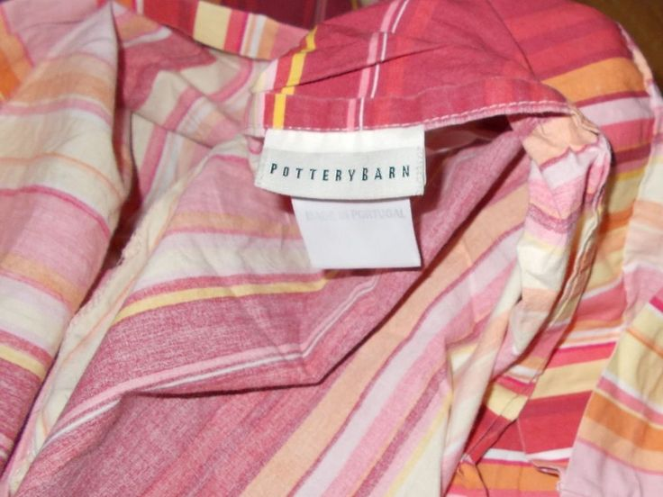 Pottery Barn Full/Queen Duvet Cover Stripe Red Yellow Pink Orange Striped #PotteryBarn