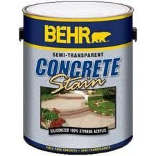 Behr concrete stain is used to stain concrete patios, walkways, driveways, interior concrete floors and garage floors. Behr cement stain  comes in solid colors and semi-transparent colors.